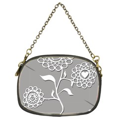 Flower Heart Plant Symbol Love Chain Purses (two Sides)