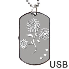 Flower Heart Plant Symbol Love Dog Tag Usb Flash (two Sides)