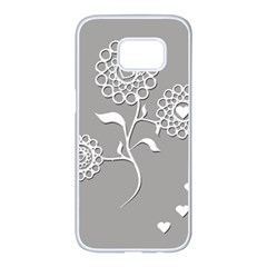 Flower Heart Plant Symbol Love Samsung Galaxy S7 Edge White Seamless Case by Nexatart