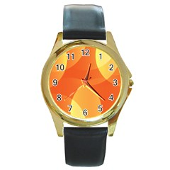 Abstract Orange Yellow Red Color Round Gold Metal Watch by Nexatart