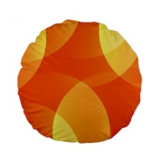 Abstract Orange Yellow Red Color Standard 15  Premium Round Cushions