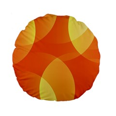Abstract Orange Yellow Red Color Standard 15  Premium Flano Round Cushions