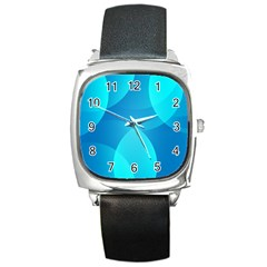 Abstract Blue Wallpaper Wave Square Metal Watch