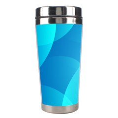 Abstract Blue Wallpaper Wave Stainless Steel Travel Tumblers by Nexatart