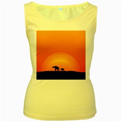 Elephant Baby Elephant Wildlife Women s Yellow Tank Top by Nexatart