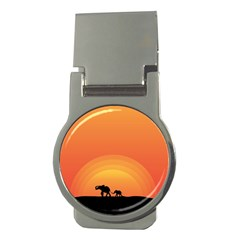 Elephant Baby Elephant Wildlife Money Clips (round)  by Nexatart