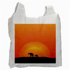 Elephant Baby Elephant Wildlife Recycle Bag (two Side)
