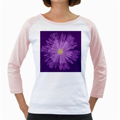 Purple Flower Floral Purple Flowers Girly Raglans by Nexatart