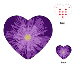 Purple Flower Floral Purple Flowers Playing Cards (heart)  by Nexatart