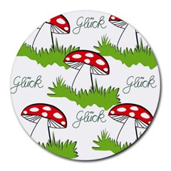 Mushroom Luck Fly Agaric Lucky Guy Round Mousepads by Nexatart