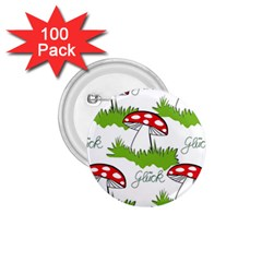 Mushroom Luck Fly Agaric Lucky Guy 1 75  Buttons (100 Pack)