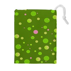 Decorative Dots Pattern Drawstring Pouches (extra Large) by ValentinaDesign