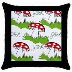 Mushroom Luck Fly Agaric Lucky Guy Throw Pillow Case (black)