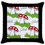 Mushroom Luck Fly Agaric Lucky Guy Throw Pillow Case (Black) Front