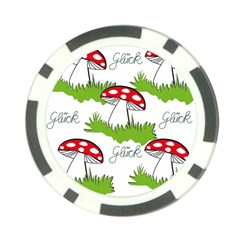 Mushroom Luck Fly Agaric Lucky Guy Poker Chip Card Guard by Nexatart