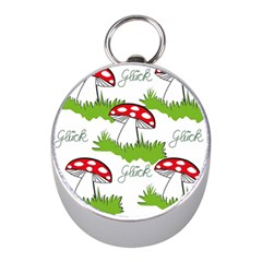 Mushroom Luck Fly Agaric Lucky Guy Mini Silver Compasses