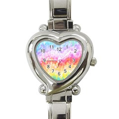 Rainbow Pontilism Background Heart Italian Charm Watch
