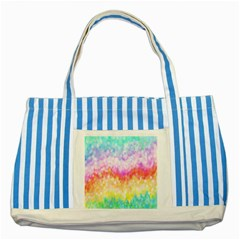 Rainbow Pontilism Background Striped Blue Tote Bag by Nexatart