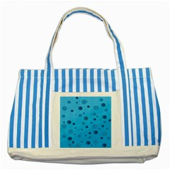 Decorative Dots Pattern Striped Blue Tote Bag by ValentinaDesign