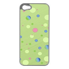 Decorative Dots Pattern Apple Iphone 5 Case (silver) by ValentinaDesign