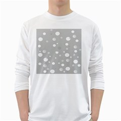 Decorative Dots Pattern White Long Sleeve T Shirts by ValentinaDesign