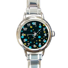 Decorative Dots Pattern Round Italian Charm Watch by ValentinaDesign