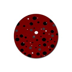 Decorative Dots Pattern Rubber Round Coaster (4 Pack)  by ValentinaDesign