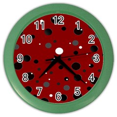 Decorative Dots Pattern Color Wall Clocks by ValentinaDesign