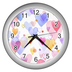 Watercolor Cute Hearts Background Wall Clocks (silver)  by TastefulDesigns