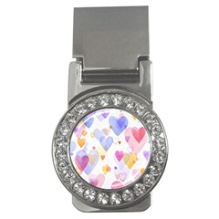 Watercolor Cute Hearts Background Money Clips (cz)