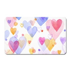 Watercolor Cute Hearts Background Magnet (rectangular)
