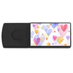Watercolor Cute Hearts Background Usb Flash Drive Rectangular (4 Gb) by TastefulDesigns