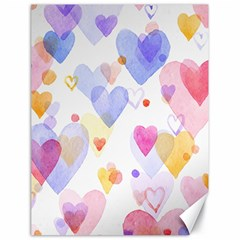 Watercolor Cute Hearts Background Canvas 18  X 24   by TastefulDesigns