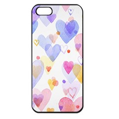 Watercolor Cute Hearts Background Apple Iphone 5 Seamless Case (black)