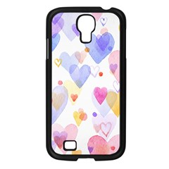 Watercolor Cute Hearts Background Samsung Galaxy S4 I9500/ I9505 Case (black) by TastefulDesigns