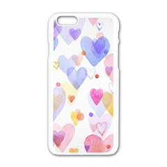 Watercolor Cute Hearts Background Apple Iphone 6/6s White Enamel Case by TastefulDesigns