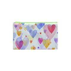 Watercolor Cute Hearts Background Cosmetic Bag (xs)