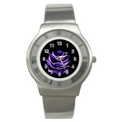 Rose Flower Design Nature Blossom Stainless Steel Watch by Nexatart