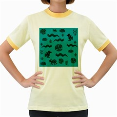 Aztecs Pattern Women s Fitted Ringer T Shirts by ValentinaDesign