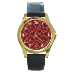 Abstract Background Red Black Round Gold Metal Watch by Nexatart
