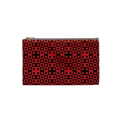 Abstract Background Red Black Cosmetic Bag (small)  by Nexatart