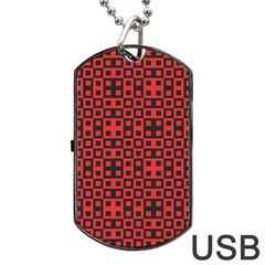 Abstract Background Red Black Dog Tag Usb Flash (two Sides)
