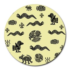 Aztecs Pattern Round Mousepads by ValentinaDesign