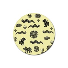 Aztecs Pattern Rubber Round Coaster (4 Pack)  by ValentinaDesign