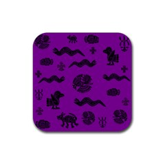 Aztecs Pattern Rubber Square Coaster (4 Pack)  by ValentinaDesign
