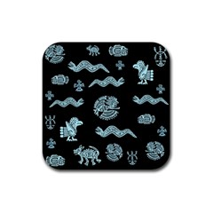 Aztecs Pattern Rubber Coaster (square)  by ValentinaDesign