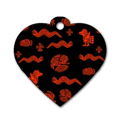 Aztecs Pattern Dog Tag Heart (two Sides) by ValentinaDesign