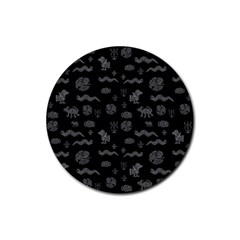 Aztecs Pattern Rubber Coaster (round)  by ValentinaDesign