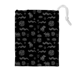 Aztecs Pattern Drawstring Pouches (extra Large) by ValentinaDesign