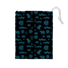 Aztecs Pattern Drawstring Pouches (large)  by ValentinaDesign